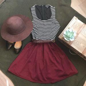 Black & White Striped Dress with Burgundy Skirt